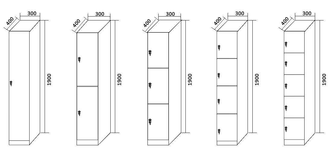 1 door to 5 doors lockers